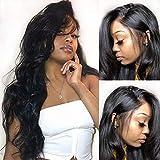 Parrucca umani naturale riccialace front wig human hair wigs capelli veri al 100% umani brasiliani vergini neri 16 inch/40cm