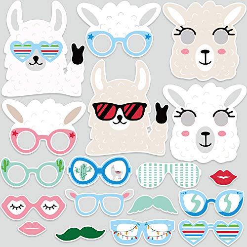 Outus 24 Zählung Lama Foto Stand Requisiten, Papier Lama Fun Brille und Masken Fiesta Baby Dusche oder Geburtstag Party Foto Stand Requisiten Kit für Lama Fun Party Dekorationen