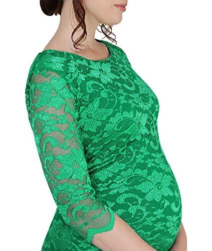 KRISP® Femmes Robe Crayon en Dentelle à Fleurs Collection Maternité Jade