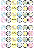 48 Unisex Baby Shower/Christening Edible PREMIUM THICKNESS SWEETENED VANILLA, Wafer Rice Paper Mini Cupcake Toppers, Cake Pops, Cookies