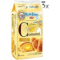 3x Mulino Bianco Kuchen mit Creme Cornetti Crema Croissant Briosche 6x 40g kekse