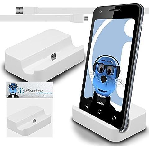 iTALKonline BlackBerry Classic Q20 2015 Bianco Micro USB Sync & Charge / ricarica Desktop Dock stand di ricarica con 1,2 metro USB di alta qualità FLAT a Micro USB di Sincronizzazione e Ricarica