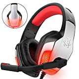 Gaming Headset für PS4 Xbox One PC Controller, DIZA100 V4 Gaming Kopfhörer mit Aluminiumgehäuse, Mikrofon, LED Light Bass Surround für Computer Laptop Mac Nintendo Switch Spiele