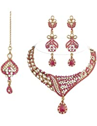 I Jewels Traditional Gold Plated Kundan Necklace Set With Maang Tikka For Women(Rani/Dark Pink)(K7053Q)