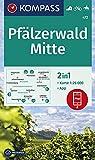 KOMPASS Wanderkarte Pfälzerwald Mitte: 2in1 Wanderkarte 1:25000 inklusive Karte zur offline Verwendung in der KOMPASS-App. Fahrradfahren. Reiten. (KOMPASS-Wanderkarten, Band 472)