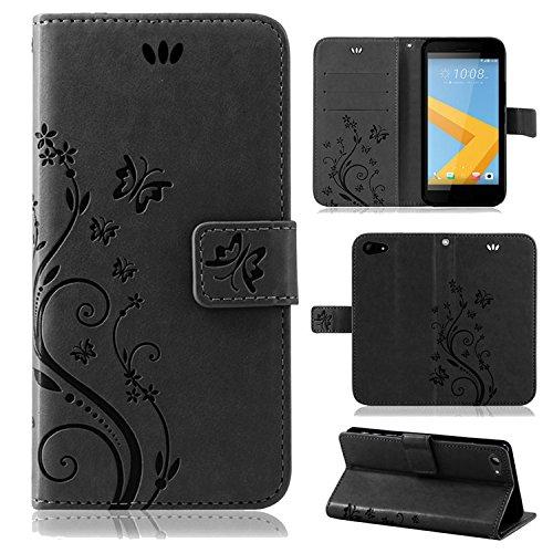 betterfon | Flower Case Handytasche Schutzhülle Blumen Klapptasche Handyhülle Handy Schale für HTC One A9s Schwarz