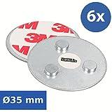 mumbi 6er Set Magnetbefestigung für Rauchmelder und Mini-Rauchmelder Magnet Befestigung für glatte Flächen (NICHT für Rauhfaser oder losen Putz)