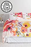 BHS Carrie Bedding Set - Large Single Duvet Cover & 2 Pillowcases - Cute Vintage Floral Flower Print Bed Sheets for Women - Supersoft, Extra Thick 100% Organic Cotton - Pretty Multi Coloured Design, Snug Fit, Good Quality Pillow Protector