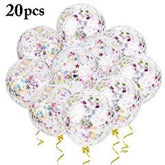 Idea Regalo - Outgeek Palloncini Coriandoli Colorati, Palloncini coriandoli 12 pollici Set di palloncini in lattice da 20 pezzi palloncino per compleanno, matrimonio e festa