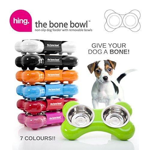 Hundenapf aus Edelstahl in Knochenform – mit zwei herausnehmbaren Schüsseln, schwarz - 3