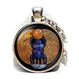 Collar con colgante con diseño de escarabajo egipcio, collar de Egipto