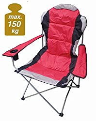 Spetebo Regiestuhl Deluxe bis 150 Kg belastbar - Farbe: rot - Campingstuhl extra breit, extra bequem, extra stabil - Angelstuhl Campingstuhl