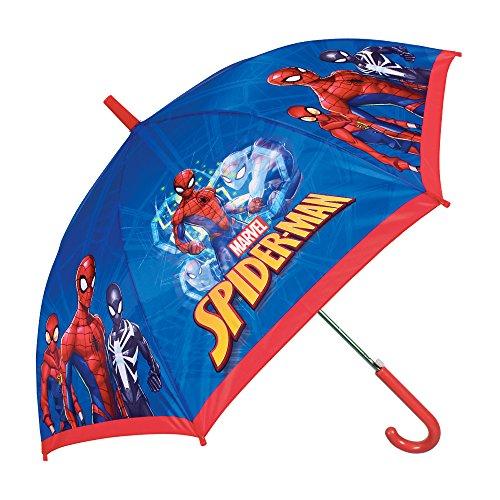 Paraguas Largo para Niño Marvel Spiderman - Paraguas Resistente y Antiviento con el Hombre Araña - Apertura Automatica - 7/10 Años - Azul y Rojo - 85 cm de diámetro - Perletti