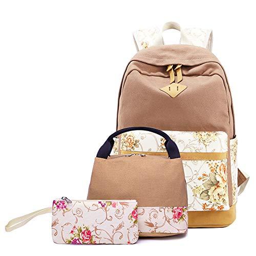 elecfan Canvas Retro Rucksack für Mädchen, Eleganter Rucksack Große Kapazität 3-Teiliges Set Schultertasche und Kleine Tasche für Outdoor-Wandern, Khaki