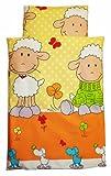 Amilian® Kinderwagenset Baby Bettwäsche Garnitur für Kinderwagen Kissen Decke NEU Schaf orange