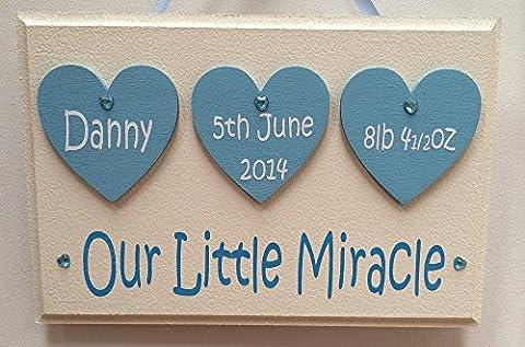 Personalised Newborn Baby Boy Plaque - Handmade wooden keepsake plaque