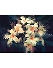 Pitaara Box Artwork Showing Beautiful White Flowers Canvas Painting MDF Frame