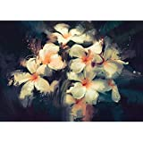 Pitaara Box Artwork Showing Beautiful White Flowers Canvas Painting MDF Frame 19.8 X 14Inch