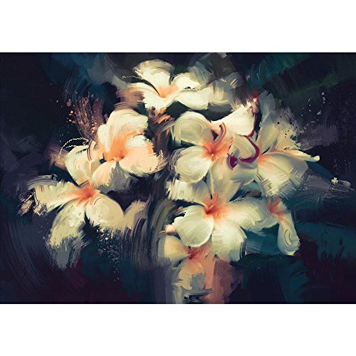 Pitaara Box Artwork Showing Beautiful White Flowers Canvas Painting 6mm Thick MDF...