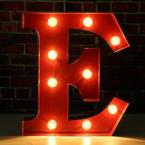 SOLMORE 23*5.5CM Lettre LED Lumineux A-Z Métal Alphabet Lampe Ampoule Stickers Muraux Décoration école,Hôtel,Bar,Restauration,Chambre Enfant,Soirée,Anniversaire,Mariage,Fête,Noël (Rouge) E