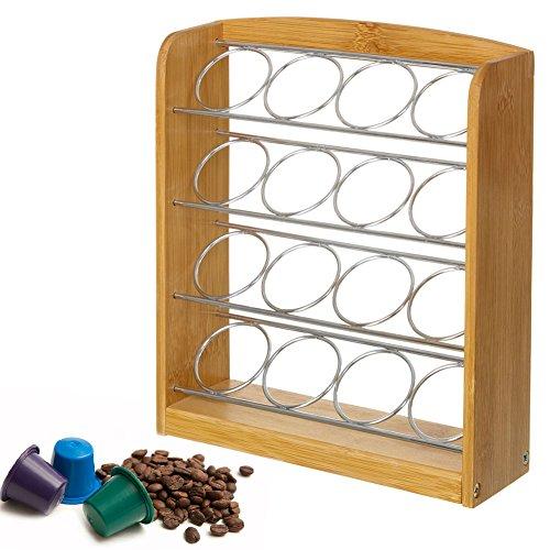 Bakaji portacapsule porta cialde capsule caffe' dispenser in legno di bambu' e metallo 16 posti colore bamboo naturale e silver dimensione 22,5 x 6,5 x 26,5 cm capsule dolcegusto