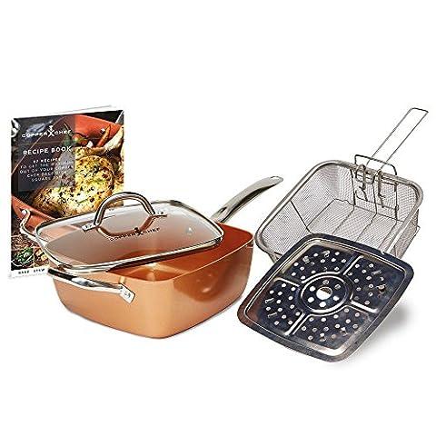 Kupfer 5in 1, quadratisch Kasserolle Set antihaft-pfanne Induktion Kochtopf Dampfgarer Steam Herd Ofen Kochen Gericht Küche Kochgeschirr