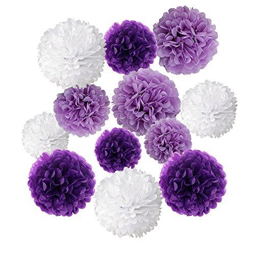 Pompons Blumen Ball Dekorpapier Kit für Geburtstag, Hochzeit, Baby Dusche, Parteien, Hauptdekorationen, Partei Dekoration - 12 Stück ( Helles Lila, Dunkles Violet und Weiß ) (Wie Machen Sie Eine Halloween-kuchen)