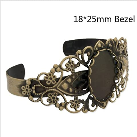 5pcs Antique Brozen Plated Adjustable Bracelet Blanks fit 18*25mm Cabochon