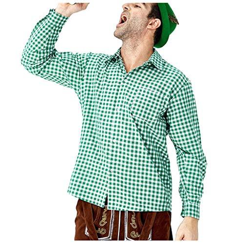 POTOU Hemd Trachtenhemd Herren Slim Freizeithemd - für Oktoberfest & Freizeit (Asiatische Kostüm Schmuck)
