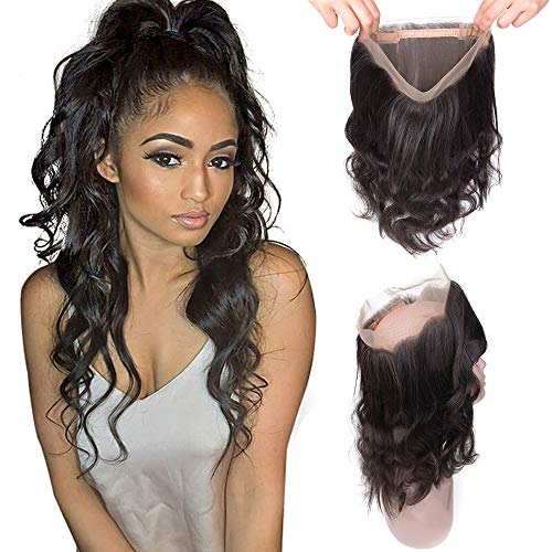 360 lace closure with baby hair brazilian body wave hair virgin remy human hair 360 frontal lace closure free part natural black colour (16 inches, body wave hair)