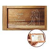 Magische Geldgeschenkbox mit Gravur - Personalisiert mit [WUNSCHNAMEN] und [DATUM] - [MOTIV BRAUTPAAR]