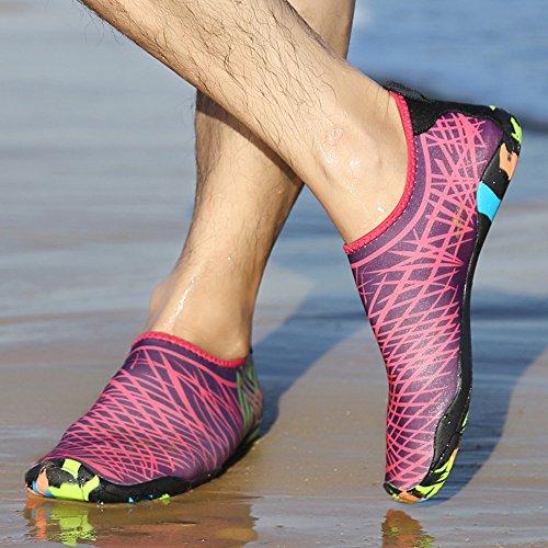 Scarpe da scoglio per Uomo e Donna,Aqua calzini per Immersione Nuotare Spiaggia Surf Yoga sport acquatico traspirante Antiscivolo rosa