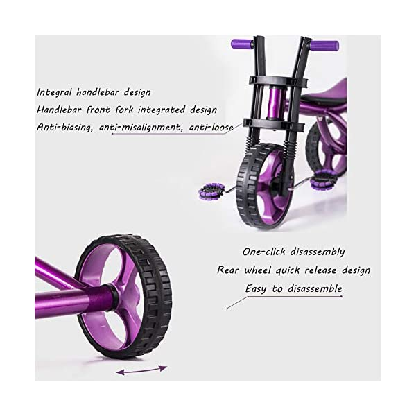 Childrens Tricycles 2 To 5 Years Easy Installation Kids' Trikes Anti-slip Pedals The Seat Can Be Adjusted Back Kids Tricycle Maximum Weight 25 Kg,Purple BGHKFF ★Material: Steel frame + TPR plastic, suitable for children aged 2-5, maximum weight 25 kg ★ Size: 57.5*25.5*38 cm/22.6*10*15inchs ★Cushion: sponge-filled, artificial PU leather, shock absorption, protect your baby's butt, soft and comfortable, dry and breathable, environmentally friendly 4