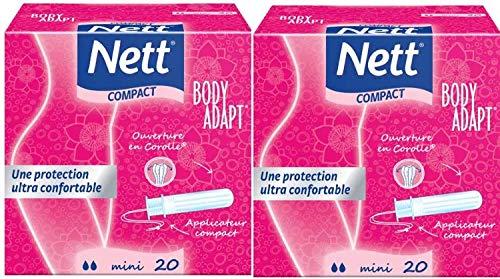Nett Body Adapt Tampons, Mini, mit Kompakt-Applikator, 2x20Stück