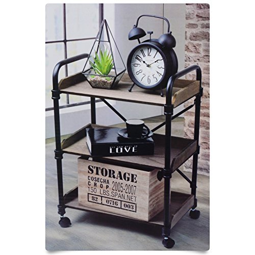 DRULINE Regal Küchenregal Regalwagen Beistellwagen Rollwagen Ablage Holz Vintage