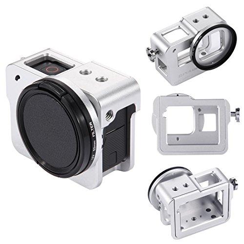 Topfroto Aluminium-Alu-Rahmen Gehäuse Gehäuse Rahmen Schutzschale mit 52 mm UV-Objektiv-Filter, rückseitige Abdeckung und Objektiv-Kappe für GoPro Hero 6 (Silber)