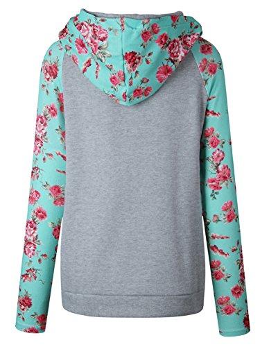 Donna Top Pullover Sweatshirt Jumper top Giacche Autunno Maglie a Manica Lunga Felpe Con Cappuccio Stampa Fiore Hoodie Grigio