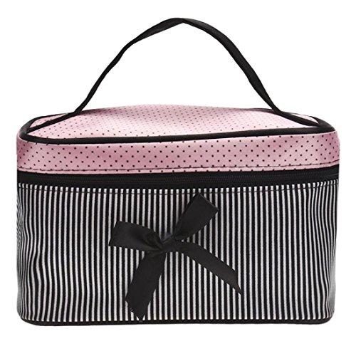 Beauty case quadrato a strisce con fiocco, borsa da viaggio, borsa per cosmetici, trousse