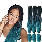 Lot de 6 extensions de cheveux synthétiques, 61cm, Ombré, Kanekalon, extension de cheveux 100g, cheveu synthétique à haute température, tresses africaines