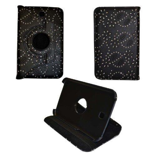 GADGET BOXX BLING SCHWARZ GLITZER Diamant-Muster 360 Grad drehen ENTWURFS STIL DRUCKEN PU Ledertasche für Samsung Galaxy Tab 7 3
