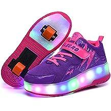 LED Flash Zapatos de Roller con USB Recargable y Ajustable Automática Ruedas Al Aire Libre Gimnasia