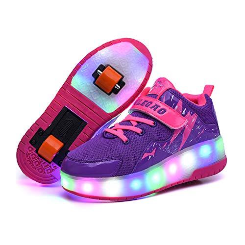 Unisex Niños LED Luz Flash Zapatos de Roller con USB Recargable Automática...