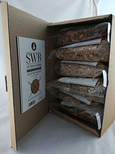 SWB Wood Smoking Chips/ Räucherchips Geschenkset 6 x 0,25kg (1,5kg)