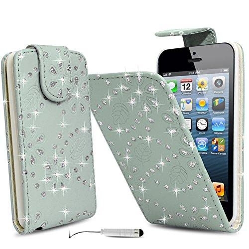 Monde de mobile®–Apple iPhone 4/4S/4G–Diamant Glitter Paillette Top Étui à rabat haute qualité en cuir PU Bling Coque + Film protecteur d'écran avec chiffon de nettoyage en microfibre stylet + éc blanc