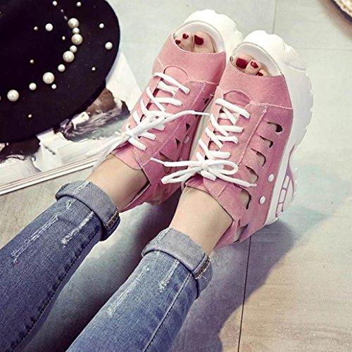 Webla Damenschuhe Freizeit Slot Wedges Sommer Open Toe Thick Heels Plattform Sandalen Damen Plateau Sandalen mit Keilabsatz Pink