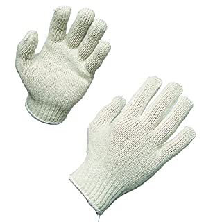 AMMEX - SKB-L - Work Gloves - 12 pairs/package; 12 packs/case, Bleached String Knit, Machine Washable, Large, White (Case of 144 pairs)