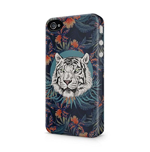 Maceste White Tiger Head Tropical Jungle Pattern Kompatibel mit iPhone 4 / iPhone 4S SnapOn Hard Plastic Phone Protective Fall Handyhülle Case Cover (Adorable Iphone 4s Fällen)