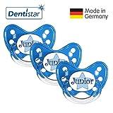 Dentistar® Schnuller 3er Set- Nuckel Silikon in Größe 3, ab 14 Monate - zahnfreundlich & kiefergerecht - Beruhigungssauger für Babys - Blau Junior