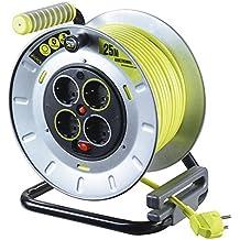 Master Plug Pro-XT de Metal L Carrete alargador de Cable con 4 enchufes,