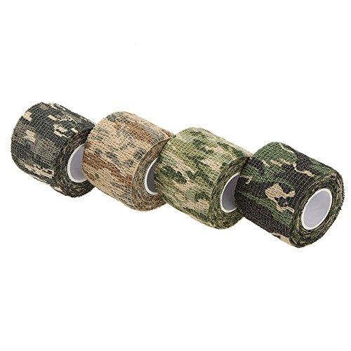 oxgrow (TM) 1rouleau réutilisable 5cmX4.5m extérieur Ruban adhésif Ruban adhésif camouflage militaire chasse Camping Cyclisme Wrap élastique tactique Pistolet à ruban adhésif